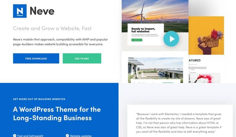 Neve gehört zu den WordPress Vorlagen mit den besten Ladezeiten