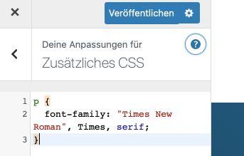 WordPress Schriftart über den Customizer ändern