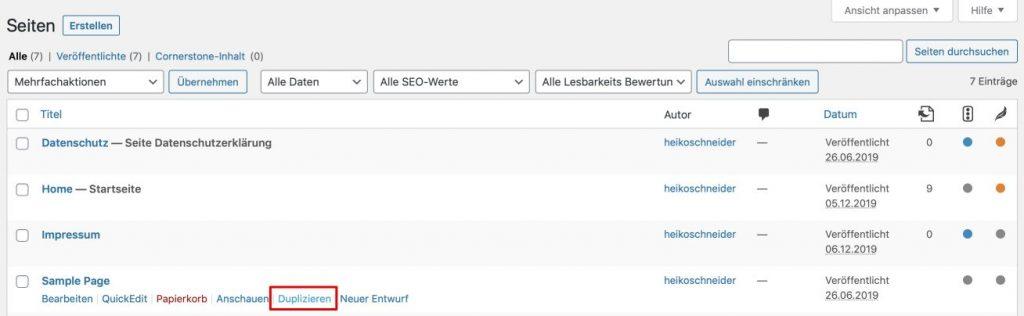 Seite duplizieren in WordPress