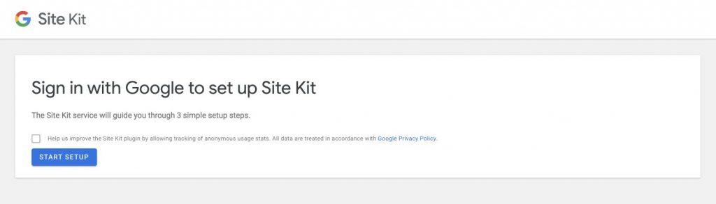 Mit einem Google Account einloggen, um das Site Kit Plugin für WordPress einzurichten.