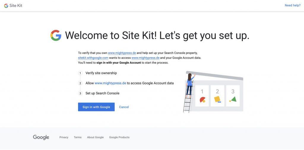 Setup Prozess des Google Site Kit Plugins. Das Plugin erkennt deine WordPress Website und möchte eine Verifizierung.