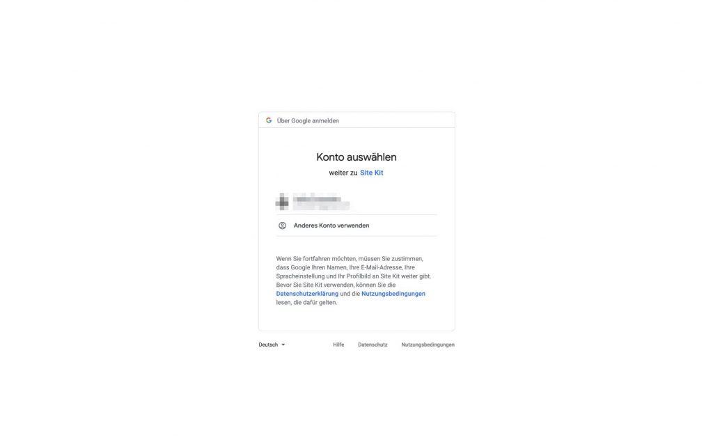 Auswahl des Google Kontos für die Verifizierung.