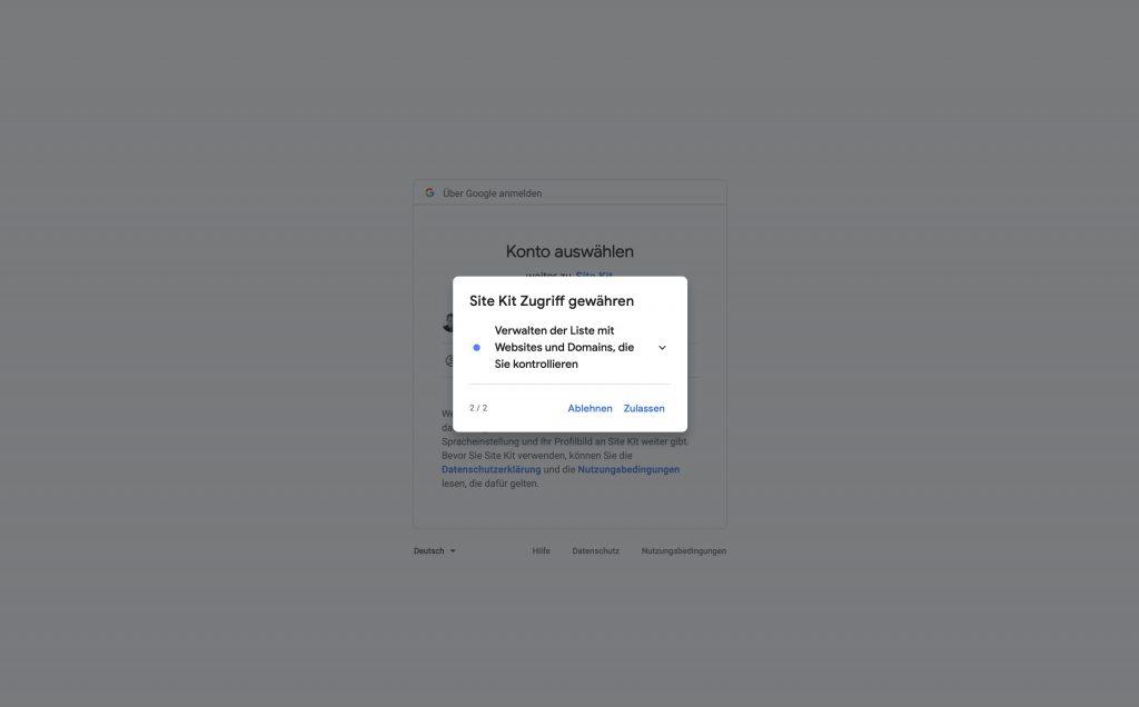 Das Google Site Kit Plugin für WordPress fragt verschiedene Freigaben ab.