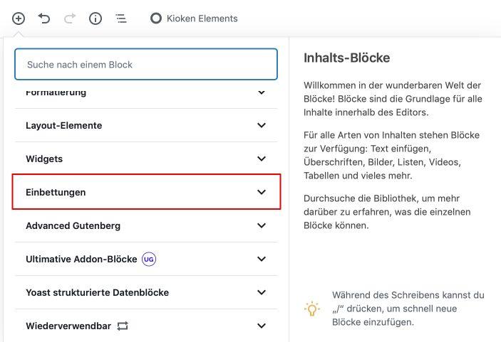 WordPress Gutenberg iFrame Einbettungen