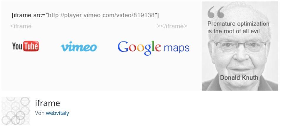 WordPress iFrame einbinden mit einem Plugin